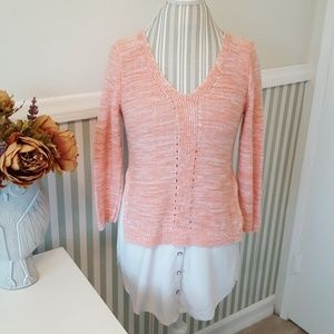 3for$30 Anthro Moth peach knit top button hem S